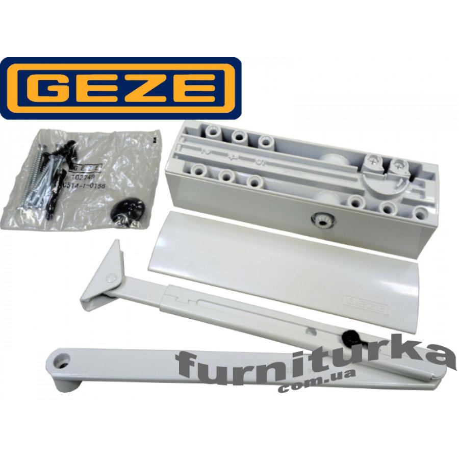 Доводчик GEZE TS 2000 VBC с локтевой тягой, с двойной регулировкой и дожимом (белый)