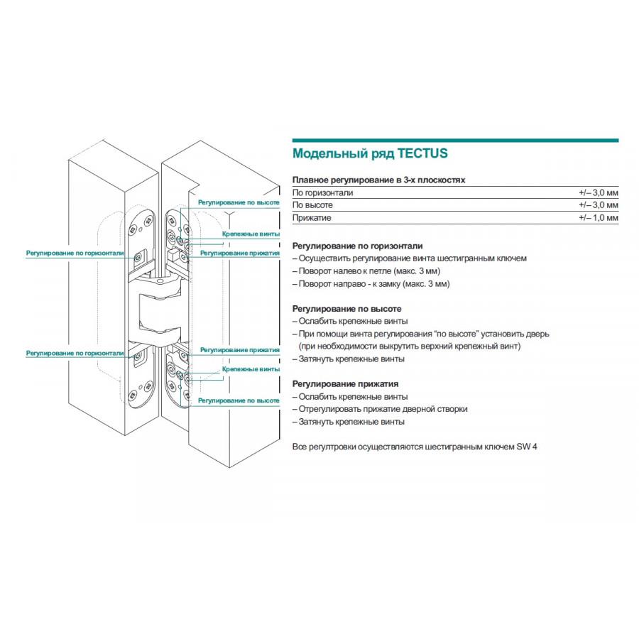 Скрытая петля TECTUS TE 340 3D цвет F1 (сатин хром) 80 кг